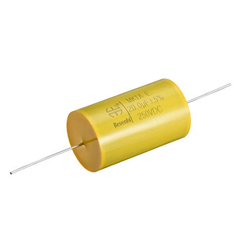 uxcell Film Capacitor 250V DC 20uF Round Axial Polyester Film Capacitor for Audio Divider Yellow