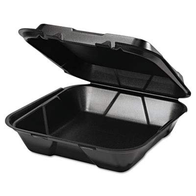 GNPSN2003L - Foam Hinged Carryout Container, 1 Compartment, 9-1/4x9-1/4x3, Black, 100/bag