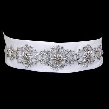 Floral Rhinestone Satin Wedding Bridal Sash Belt - White by Fairytale Bridal Accessories
