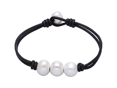Knotted Leather (Fashion Braided Leather Knotted Bracelet Handmade Pearls Jewelry for Lady Black 7.5