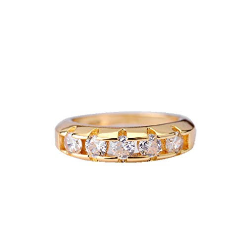 - Band Ring, ✔ Hypothesis_X ☎ Circle Glossy Gold Diamond Ring Cubic Zirconia Eternity Ring Jewelry Engagement Ring