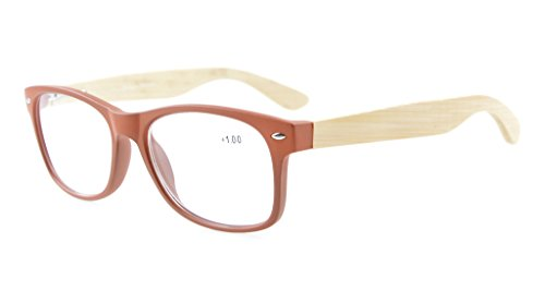 las Eyekepper 80's de 1 de la sol ancho de de bisagras de madera lectura Marrón de gafas bambú sunreaders de 75 templos primavera de rxrF8zw