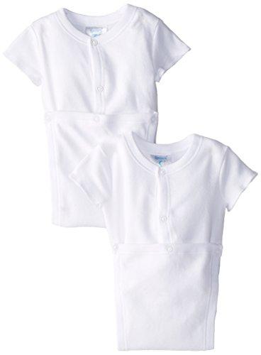 Spasilk Unisex-baby 100% Cotton Short Sleeve Wrap 2-Pack Bodysuit - Newborn, White