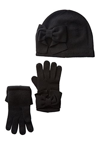 Kate Spade New York Dorothy Bow Beanie & Gloves Set (Black (001), One Size)