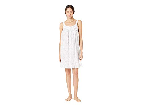 Floral Ruffled Chemise - Eileen West Women's Cotton Woven Swiss Dot Sleeveless Short Chemise White Ground Floral Scroll Small