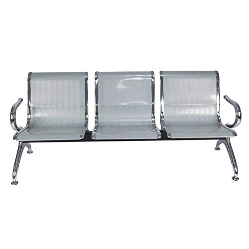 3 Seat Guest Chair - 3-Seats Guest Reception Chair Airport Office Reception Waiting Bench Room Garden Salon Barber Bench 3 Seats, Silver