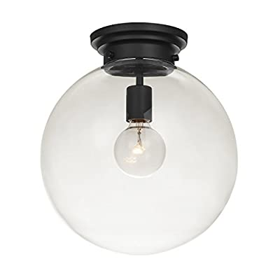 Globe Electric Portland 1-Light Semi-Flush Mount Ceiling Light, Black Finish, Clear Glass Shade 65954 - MODERN CONTEMPORARY DESIGN: simple and uncluttered, the black finish of the Portland Semi-Flush Mount pairs with a clear glass shade to combine modern and contemporary into one beautiful design union CLEAR GLASS SHADE: the clear glass shade showcases the bulb perfectly to provide a wonderfully warm glow to any area in your home DIMMABLE: fully dimmable with a compatible dimmer switch to create the perfect atmosphere (dimmer switch sold separately) - kitchen-dining-room-decor, kitchen-dining-room, chandeliers-lighting - 31FlYLWhFEL. SS400  -