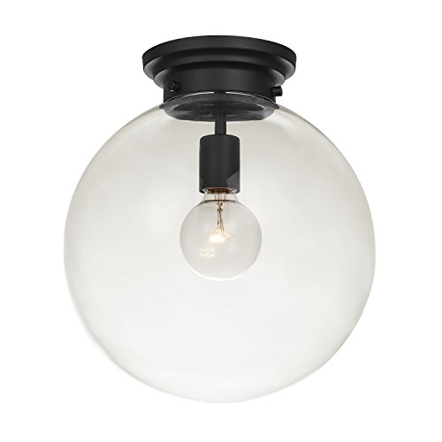 1 Mount Light Semi Flush (Globe Electric Portland 1 Semi-Flush Mount Ceiling Light, Black Finish, Clear Glass Shade 65954)