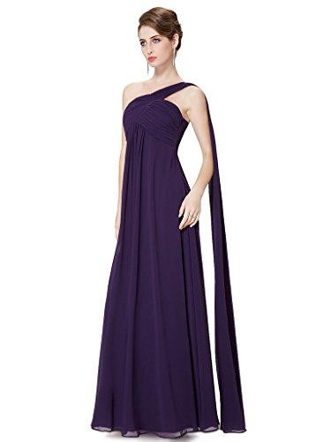 Une Robe Du Soir En Mousseline De Soie De L'épaule De La Femme Mariée Aurora Violet