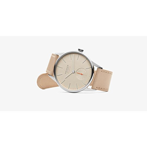 Nomos Glashuette Men's orion 36mm Beige Leather Band Steel Case Sapphire Crystal Automatic Watch 393