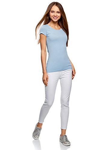 oodji Ultra Mujer Camiseta Básica Entallada (Pack de 3) Azul (7000N)