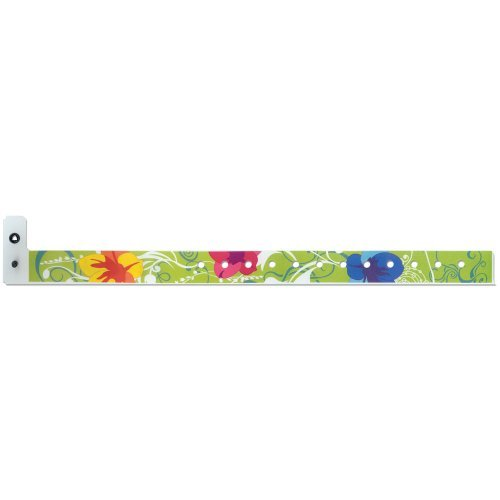Hawaiian Floral Bands - Plastic Wristbands - 3/4 Inch - Hawaiian Floral Flair Design - Day Glow Green - 500 Pieces per Box
