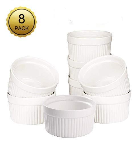 Juego de 8 moldes redondos de porcelana para hornear postres, postres, ramekin (3.5 in)