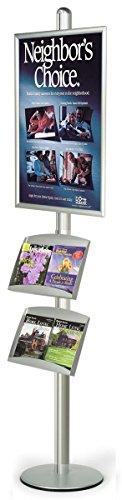Silver Finish Large Poster Stand With (2) Literature Trays Displays 24 x 36-Inch Graphics, 24 x 94 x 18-Inch, Free-Standing, Height Adjustable, Single-Sided, Snap Open Style Frame