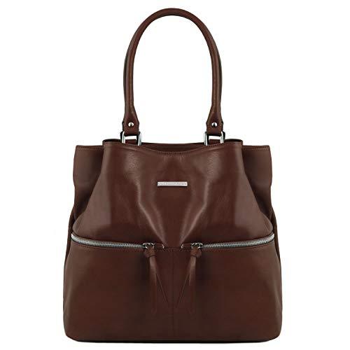 asa Bordeaux Leather con Delanteros Piel Bolsillos Oscuro en Bolso TLBag Marrón de Tuscany Larga PIydqxBaBw