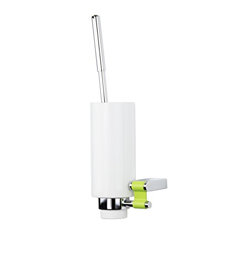(Iris Wall Toilet Brush Holder & Brush Cleaner Combo, White Ceramic Cup & Polished Chrome, Wall Mounted, Bathroom Accessories Set, Made in Spain (European Brand) (Green))