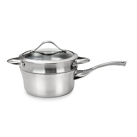 Calphalon® Dishwasher Safe Contemporary Stainless Steel 2.5-Quart Saucepan with Double Boiler & Cover, Safe For Use With All Utensils, Including Metal, Nylon And Wood