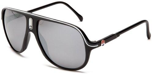 I SKI Delirium Aviator Sunglasses,Black & White Frame/Smoke & Silver Lens,One - Glass Frames I
