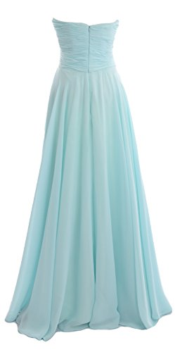 Prom Formal Elegant Gown Bridesmaid MACloth Long Simple Strapless Chiffon Dress Himmelblau PdRqR08