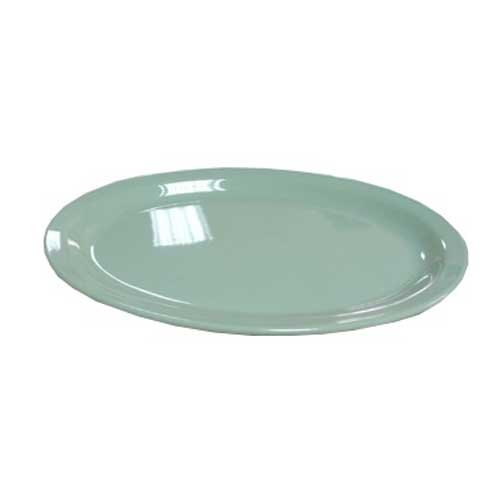 Yanco NS-512G Nessico Oval Platter with Narrow Rim, 11.5'' Length, 8'' Width, Melamine, Green Color, Pack of 24
