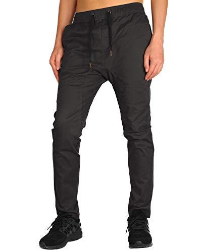 THE AWOKEN Men's Chino Jogger Pants Khaki Stretch Twill Slim Fit Sweatpant (Chocolate, XS)