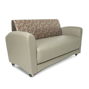 Incroyable Interplay Sofa Without Tablet Arms (Plum Fabric Back/Taupe Vinyl Seat)