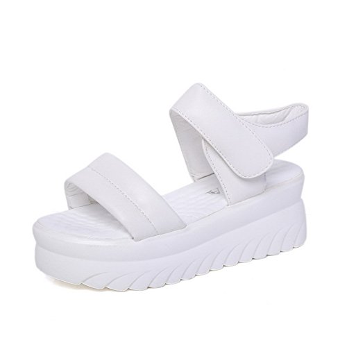 AllhqFashion Women's Open Toe Kitten-Heels Patent Leather Hook-and-loop Platforms & Wedges White 2uTlyEL