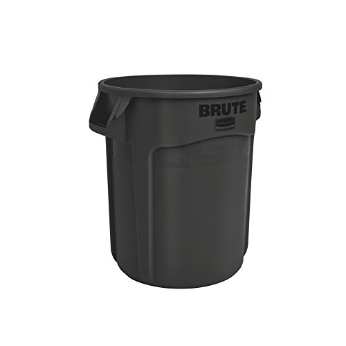 Rubbermaid Commercial BRUTE Heavy-Duty Round Waste/Utility Container with Venting Channels, 32-gallon, Black (1867531)
