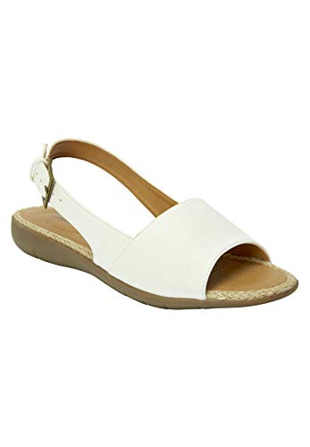 Comfortview Women's Plus Size The Adele Sling Sandal - White, 9 ()