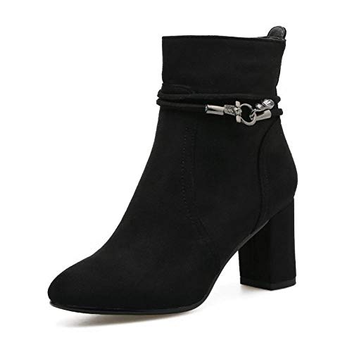 Luo Invierno Gran Negro Negra 41 Punta botas Tamaño Tacón Otoño botas De 34 Con Gruesas Mujer Alto E Zapatos Botas Sqrfw8SZ