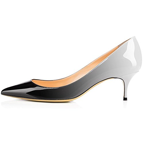 Calaier Kitten Heels For Women,Pointy Toe Pumps Slip On Low Heels Sexy Patent Shoes Dress Office Pumps Black White