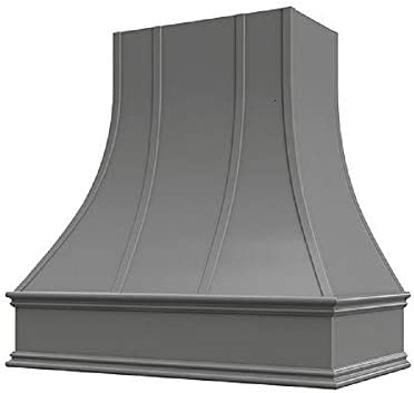 Wholesale Wood Hoods Curved with Strappings Style Hood Wooden Chimney Range Wall Mounted for Kitchen with 18 Depth - 36 W 36 H - Black
