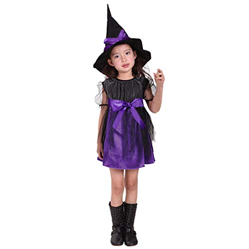 Cegduyi Girl Halloween Costumes Cat Dress Cosplay Witch Hat Holiday Party Tulle Performance Wear Pageant ()