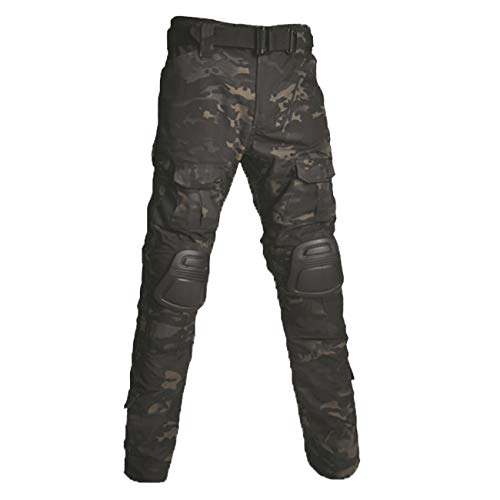 Military Ba Cipher Tactical Stretch Pants Outdoor Pants with Pockets Lightweight Combat Tactical Pants Ripstop Cargo Hiking Pants-Dark Camouflage-US 38(41-43W tag 40)