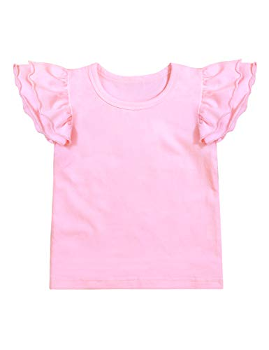(Infant Toddler Baby Girl Top Basic White Plain Ruffle Tee Short Sleeve T-Shirts Blouse Clothes 3-4 T)