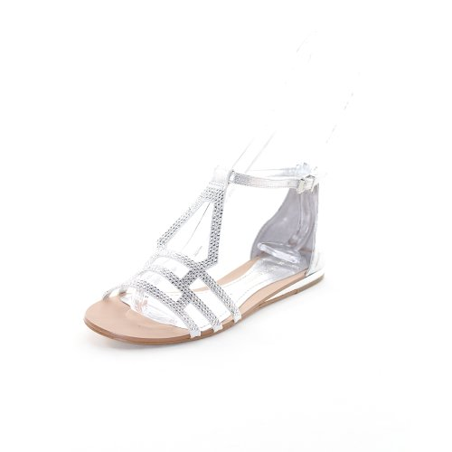BCBGeneration Womens Gladiator Sandals Size 5.5 M Fabeena 2 Silver Leather