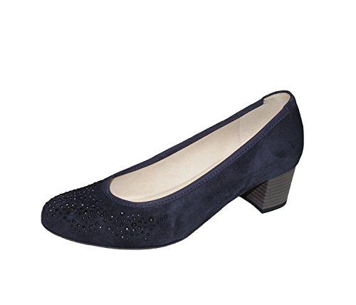 Las mujeres de Bombas Gabor 65.381.16 azules zapatos de ante de las mujeres blau