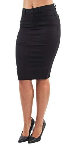 Women's Junior Butt Lift, Push Up, Knee Length Midi Pencil Denim Skirt in Black Size L ()