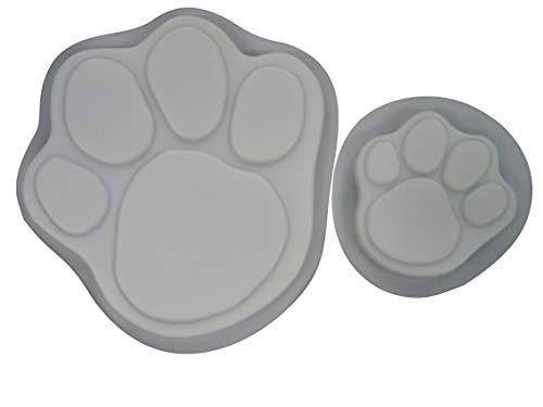Dog Cat Paw Print 13 & 7 in Stepping Stone Concrete Plaster Mold Set (Concrete Plaster Stepping Stone Mold)