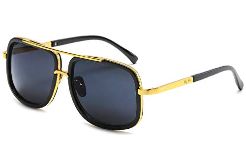 Eyerno Retro Aviator Sunglasses For Men Women Vintage Square Designer Sun Glasses(Black)