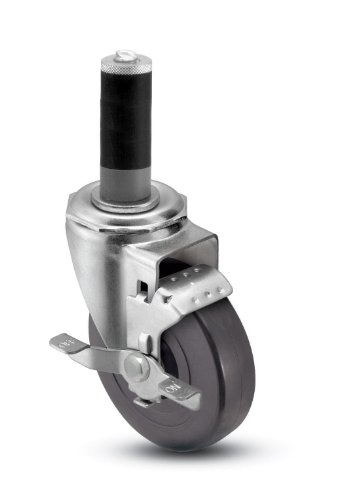 Shepherd-Institutional-Series-5-Diameter-Nylon-Bearing-TPR-Wheel-Swivel-Caster-with-Tread-Brake-Expanding-Stem-280-lbs-Capacity-Fits-78-1516-Round-Tube-Diameter