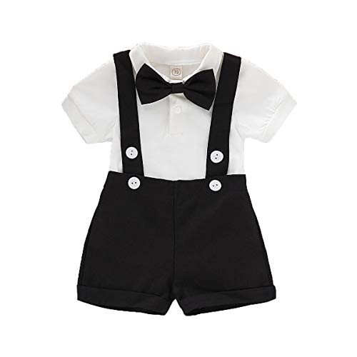 Baby Boys Gentleman Outfits Set Short Sleeve Romper with Tie and Overalls Bib Pants Wedding Tuxedo Outfits (Black, 12-18 Months)