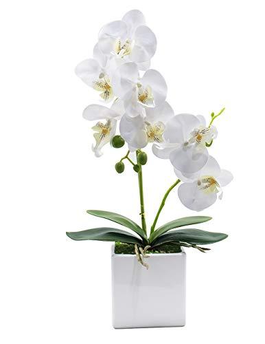Dahlia Realistic Silk Orchid Artificial Flower Arrangement with White Square Ceramic Pot, White