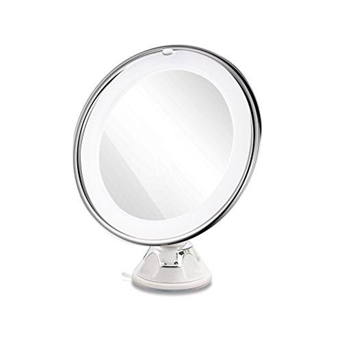 Frcolor Espejo de aumento que magnifica 10X con la luz blanca del LED y la ventosa fuerte, espejo de tocador cosmético...