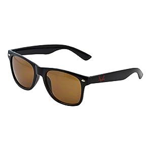 OX Legacy Blue Light Filter UV Blocking Glasses, Better Sleep Vintage Classic Brown Lens, Unisex Thin Square Anti-Glare 55mm Black Wayfarer Frame Computer Eyewear
