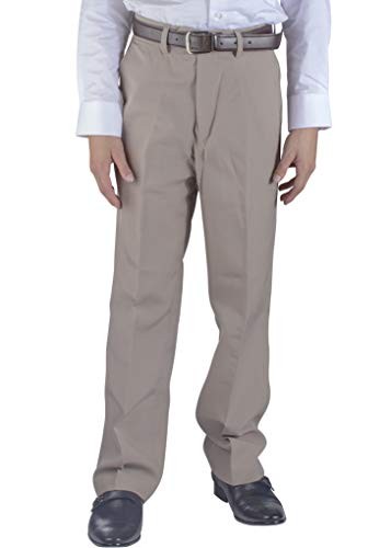 Alberto Cardinali Big Boys Dress Pants Belted Flat Front (14, Beige)