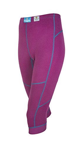 Janus 100% Merino Wool Women's Sport 3/4 Leggings Machine Washable Made in Norway (Medium, Lilac)
