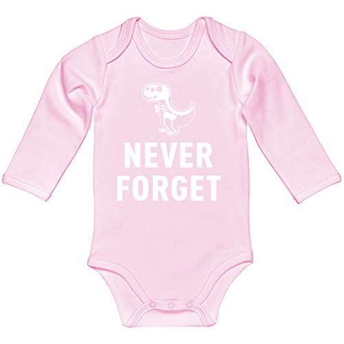 Indica Plateau Baby Romper Never Forget Light Pink for 6 Months Long-Sleeve Infant Bodysuit