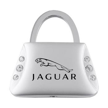 Jaguar Purse Shape Keychain W/6 Swarovski Crystals (Ring Key Crystal Keychain Swarovski)
