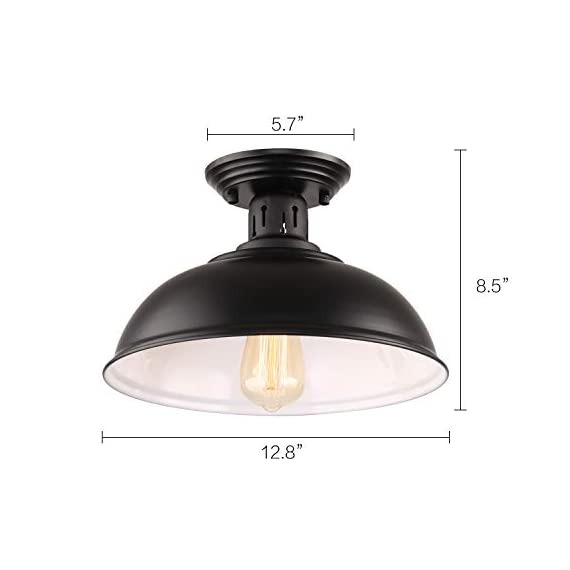 HMVPL Semi Flush Mount Ceiling Light Fixture, Farmhouse Black Close to Ceiling Lighting Industrial Decor Lamp for Kitchen Island Bedroom Living Room Foyer Hallway Entryway Office Closet - Wide Application: Kitchen Island, Dining Room, Living room, Bed room, Café, Bar, Hotel, Office, Hallway, Entryway, Foyer, barn, warehouse, basement, garage, porch, and more. Retro Industrial Design - This pendant light features on the black finish lampshade, which easily brings you back to 19th century. It will adds stylish touch to your house and business areas. Medium Base Socket -Designed with E26 bulb socket that is compatible with a variety of bulb types: Incandescent, Halogen. LED (60W Max, Not Included). This fixture can be dimmable if use compatible dimmer switch and bulb. - kitchen-dining-room-decor, kitchen-dining-room, chandeliers-lighting - 31FlvHr1XrL. SS570  -